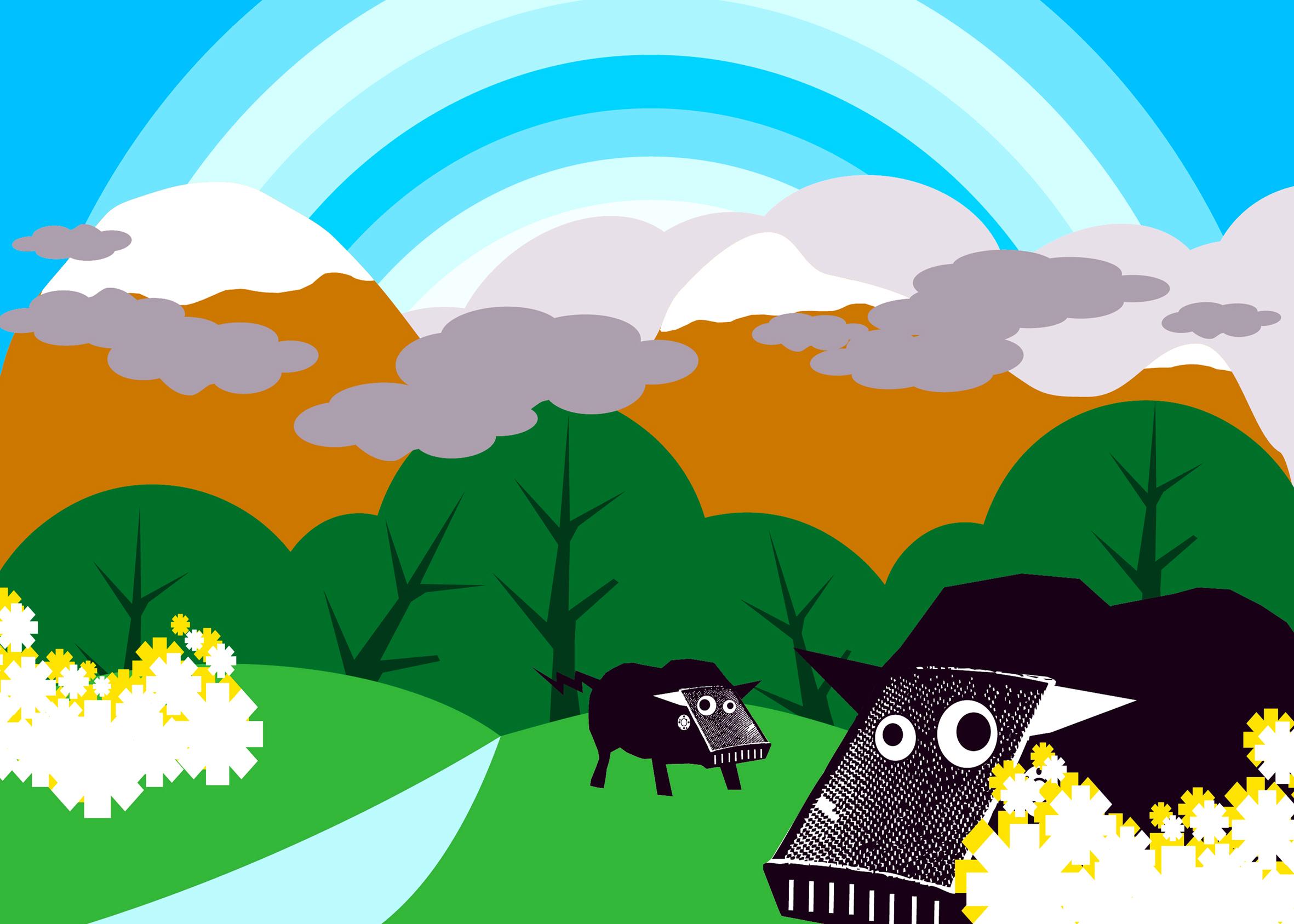 bulls bots in landscape